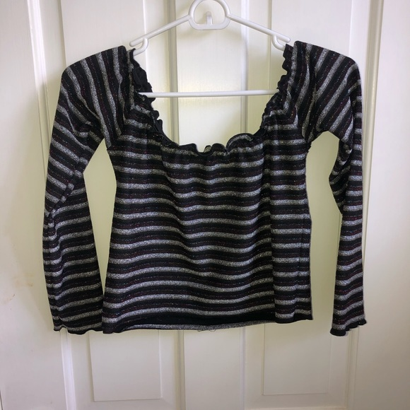 Urban Outfitters Tops - LIGHT BEFORE DARK off the shoulder party crop tee